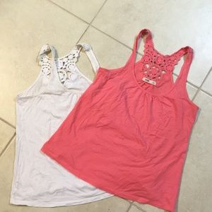 Set of two lace detailed cotton tank tops